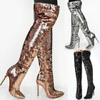 Womens Ladies Thigh High Party Boots Stiletto Heels Over The Knee Sparkly Shoes