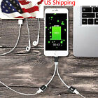 2in1 Dual Lightning Adapter Headphone Audio Cable Charger Splitter For iPhone 7P