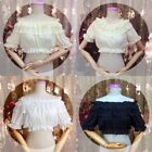 Lolita Girls Lace Chiffon Blouse Puffed Sleeves Shoulder Bottoming Short Shirt