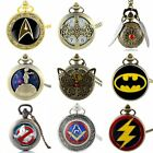 Vintage Quartz Pocket Watch Antique Steampunk Design Necklace Superhero Pendant image