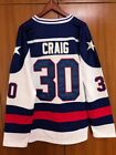 Jim Craig 30 Miracle on Ice Movie USA Ice Hockey jersey blue and white color