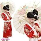 Red Geisha Girl Costume Kids Girls Japanese Oriental Chinese Sizes 5-13 Years
