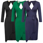 Women Hollowed Bandage Bodycon Long Sleeve Evening Party Cocktail Pencil Dress