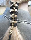 wraps clothing - Gold SKULL Leather Hair Wraps Cuff Tie Ponytail Holders Bead Biker Goth Clothing