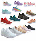 Kyпить Youth Girl's Kid's Lace Up Glitter Jogger Sneaker Lace Up Shoes Size 9 - 4 NEW на еВаy.соm
