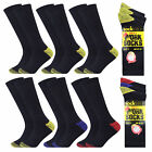 Pack Of 12 Pairs Mens Cotton Rich Long Heel Toe Socks Boot Size 6-11 New
