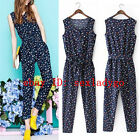 New Floral Print Sleeveless Waistband SashesLong Pant Rompers Jumpsuits Overall