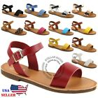 NEW Women's Shoe Comfort Simple Basic Ankle Strap Flat Sandals