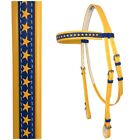 PVC Horse Bridle - Yellow & Blue with Stars