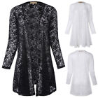 Women's Front Blouse Long Sleeve Open See-through Lace Tops Cardigan Ladies Coat
