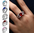 New Women Silver Plated Crystal Love Heart Ring Wedding Engagement Jewelry 1pcs