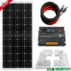 100W Solar Panel System for 12V Battery Power Charging & 10A Controller Home RV