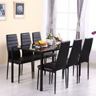 Glass Dining Table and 4 Or 6 Faux Leather Padded Chairs Set Kitchen 4/6 Seater