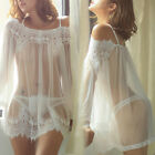 Lady Fashion Harness Sexy Lace Temptation Perspective Love Pajamas Dress US