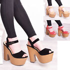 Ladies Women Strappy Ankle Platform Wooden Chunky High Heel Sandal Shoes Size