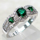 WONDERFUL EMERALD 925 STERLING SILVER RING SIZE 5-10