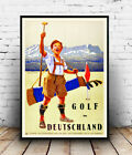 Golf in Deutschland : Vintage Travel advert, Wall art ,poster, Reproduction.