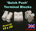 'Quick Push' Terminal Blocks, 2 pin / connector,   Packs of 10 and 20 - UK Stock