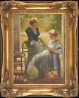 Two Victorian Woman Portrait ~Original Oil Painting+Wood Frame