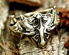 Skyrim Game Viking Helmet Ring, Dragon Shield Ring with Brass Jewelry Size 8-12