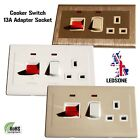 Cooker Switch 45A 2 Gang Screwless Slim Flat Plate Wall Plug Socket With Neon A+