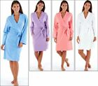 Womens Ladies Robe Plain Jersey Soft Dressing Gown 100% Cotton Pockets Light