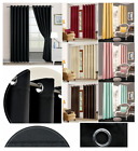 Eyelet Blackout Thermal Insulated Window Blinds Dark Room Curtains With Tiebacks