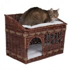 Wicker Basket For Cat Large House Indoor Bed Hideaway Woven Den Snuggle Cushion