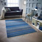 CARTER BLUE STRIPED WOOL RUG IN VARIOUS SIZES AND RUNNER