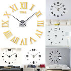 Modern DIY Small/ Large Number Wall Clock 3D Mirror Surface Sticker Home Decor H