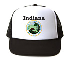 Trucker Hat Cap Foam Mesh City State Country Indiana State Seal 2018