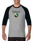 Gildan Raglan Tshirt 3/4 Sleeve City State Country Indiana State Seal 2018