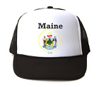 Trucker Hat Cap Foam Mesh City State Country Maine State Seal 2018