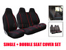 Black Red Trim Front Single Double Van Seat Covers For Daihatsu Hijet 86 - 04