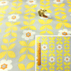 YELLOW GREY Fat Quarter/Meter Cotton Fabric FQ, Craft Quilt Sew, Retro Floral A