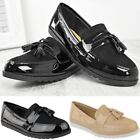 Womens Ladies Black Loafers Work Formal School Shoes Flat Pumps Casual Size New