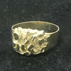 Real 10K Yellow Gold Men's Small Nugget Style Pinky Ring Custom Fancy All Sizes