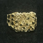 Real 10K Yellow Gold Men's Large Nugget Style Pinky Ring Custom Fancy Sizable