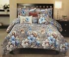 6pc Seraphina Cotton Comforter Set : Floral Silver Blue & Brown :: King & Queen
