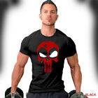 Deadpool T-Shirt Distressed Punisher Skull Crossover Logo Workout Gym Apparel  image