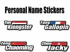 4x personalized name flag Stickers bike cycle cycling helmet frame Custom decals