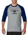Gildan Raglan T-shirt 3/4 Sleeve USA State Property Of Iowa