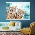 3D Snow Two Wolf 99 Poster Picture Home Decor Framed Painting Unique Wall Art