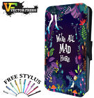 We Are All Mad Here Alice Cat - LEATHER FLIP WALLET PHONE CASE COVER + STYLUS