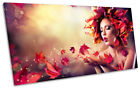 Red Fashion Autumn Beauty Picture PANORAMIC CANVAS WALL ART Print