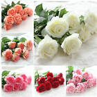 10/20 Heads Real Touch Artificial Latex Rose Flowers Bouquet Wedding Home Decor
