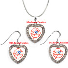 New York Yankees 925 Necklace / Earrings or Set Team Heart With Rhinestones on Ebay