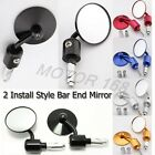 """3""""UNIVERSAL MOTORCYCLE  7/8""""HANDLE BAR END MIRRORS FOR CAFE RACER BOBBER CLUBMAN"""