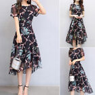 Women Chiffon A Line Floral Slim Pleated Waist High Low Shift Party Dress Plus