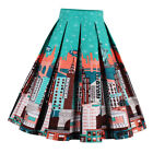 Women Girls Vintage Flamingo Printed A-Line Pleated Flared Midi Skirt S-2XL